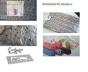Schöne Badewanneneinlage-Duscheinlage -Wannenbeckeneinlage -Kieseloptik-Steinoptik Farbe: Grau-Maße: 88cm x40cm-A807 Schadstoffrei