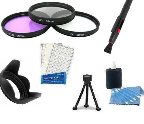 58Mm Multi-Coated 3 Piece Filter Kit (Uv-Pl-Fd) + 58Mm Lens Hood + Mini Tripod + Lcd Screen Protectors + Camera Cleaning Kit + Lens Cleaning Kit For Canon Digital Eos Rebel (T3I T2I T1I)