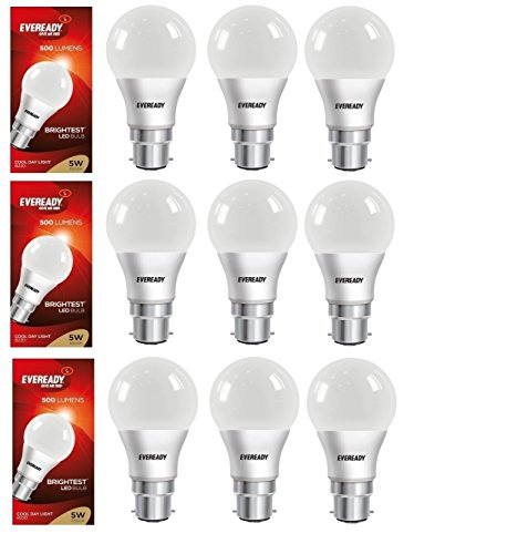 5W LED Bulb (Cool Day Light, Pack of 9)