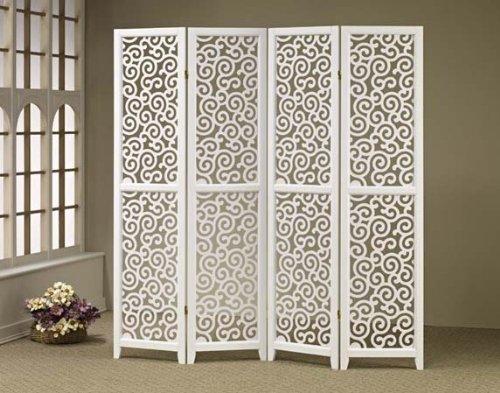 Screen Room Divider 3 Panel White Swirl Design Screen Room Divider