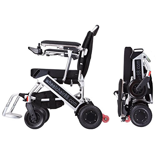 Latest 2016 version Foldawheel PW-999UL (Now with Extendable Footrest, Version 3 joystick controller, motor with more power). At only 45 lbs (with high capacity Polymer Li-ion Battery), is the Lightest & Most Compact power chair in the World. This Motorized Foldable Electric Powered Wheelchair can stand by itself after folded (solely by Wheelchair88)