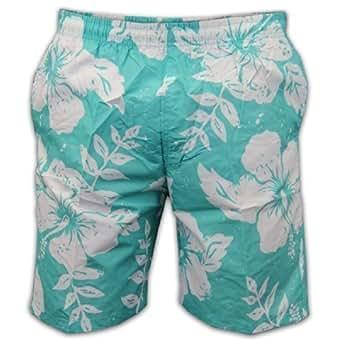 Shorts de Natation Homme Motif Fleurs Hawaiennes Plage Eté Vacances Doublure Maille Neuf - 2X Large, Vert clair - LD12701
