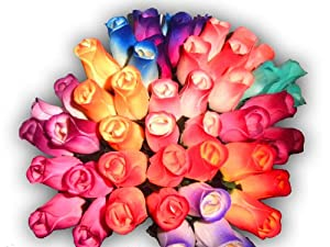 Amazon.com: 2 Dozen (24) Wooden Roses Colorful Arrangement