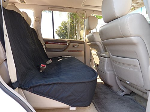 "Deluxe Quilted And Padded Back Seat Bench Cover - One Size Fits All 56""W Black front-161408"