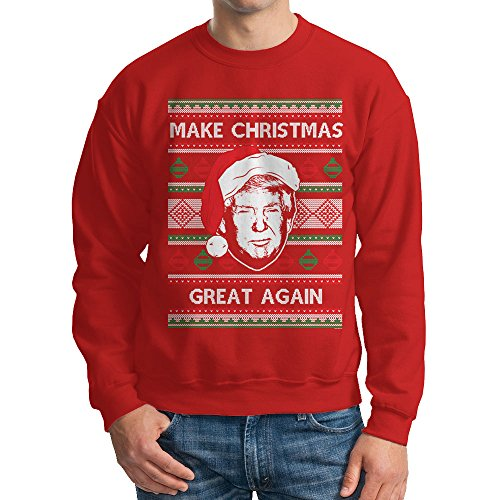 Men's Trump Make Christmas Great Again Ugly Christmas Crewneck Sweatshirt (Red, X-Large)