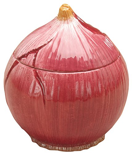 Red Onion Container Collectible Vegetable Ceramic Glass Kitchen Jar