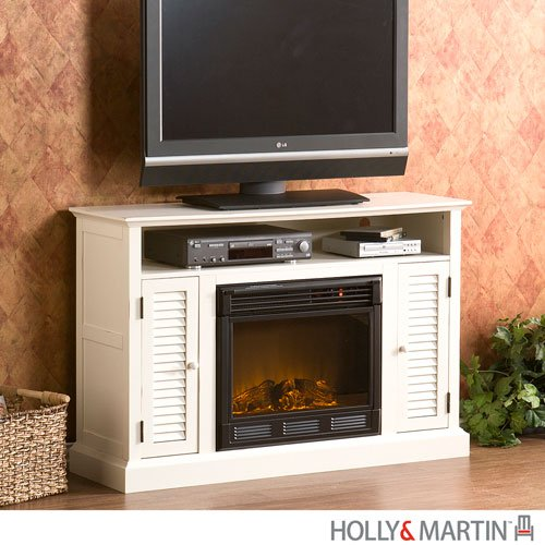 Savannah Antique White Media Electric Fireplace (Antique White) (32