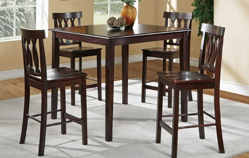 Counter Height Dining Set (5 PCS) in Dark Cappuccino by Poundex