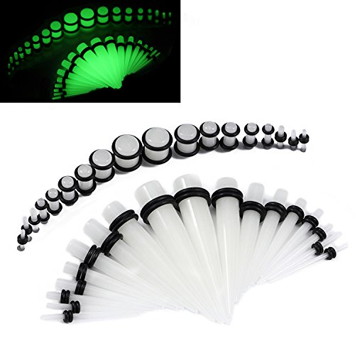 36 Pieces Gauges Kit Clear Super Glow In The Dark Radiant Acrylic Tapers with Plugs 14G - 00G Stretching Kit - 18 Pairs (Plug Set 14g 00g compare prices)