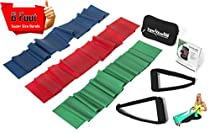 Set of 3 Six Ft. Long Latex Resistance Bands, Exercise Band Handles & Zipper Pouch -- FREE Bonus Exercise Band Door Anchor -- Get Your Workout For Fitness or Rehab Done At Home, Office Or While Traveling -- Unconditional Money Back Guarantee