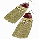 Tassel chain funky red stone style long earrings