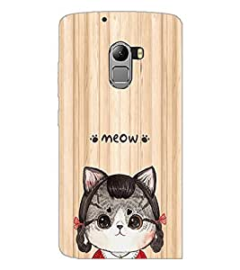 PrintDhaba Meow D-3379 Back Case Cover for LENOVO K4 NOTE A7010 (Multi-Coloured)