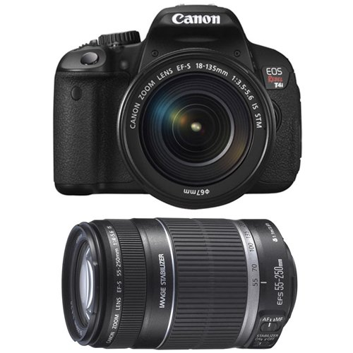 Canon Eos Rebel T4I Digital Slr Camera Body & Ef-S 18-135Mm Is Stm Lens With Ef-S 55-250Mm F/4.0-5.6 Is Ii Zoom Lens