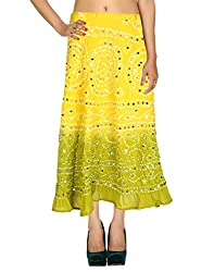 Online Casual Skirt Cotton Yellow Ethnic Tie Dye For Her By Rajrang