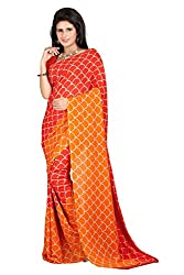 Pruthu Georgette Sari with Unstitched Blouse (pmadh_002_Orange)