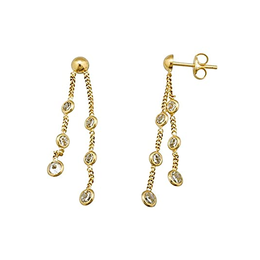 18k gold cubic zirconia earrings long chains [AA5140]