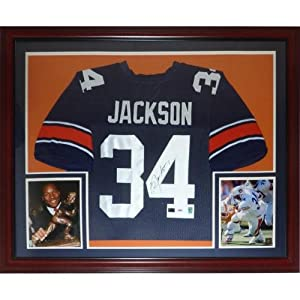 Bo Jackson Autographed Auburn Tigers (Blue #34) Deluxe Framed Jersey by PalmBeachAutographs.com