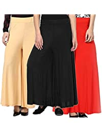 Women's BEIGE-BLACK RED Palazzo Pant