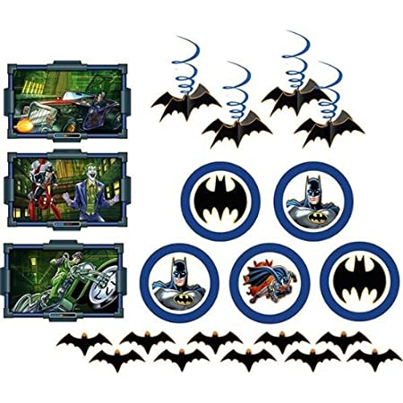 From the Batman Heroes and Villains Party Supply Collection. Room Transformation Kit. Each individual kit includes 3 wall decorations, 4 danglers, 5 spinners and 10 small flat bats. Calling all heroes! Batman is teaming up with the birthday boy and h...