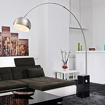bogenlampe viviana marmor und edelstahl schwarz silber lampe stehlampe beleuchtung. Black Bedroom Furniture Sets. Home Design Ideas