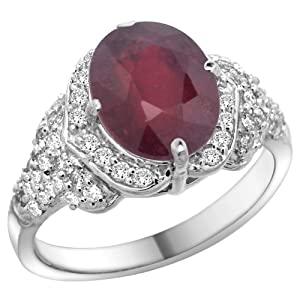 14k White Gold Natural Enhanced Ruby Ring Diamond Halo Oval 10x8mm, 1/2 inch wide, size 10