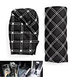 CiDoss Black/White Trendy Racing Style Handbrake Brake Gear PU Cover Sleeve Set Automatic Manual File Sets Car Accessories