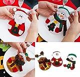 [White Castle] クリスマス ディナー かわいい カトラリー カバー 3枚セット ナイフ フォーク 入れ サンタクロース トナカイ 雪だるま