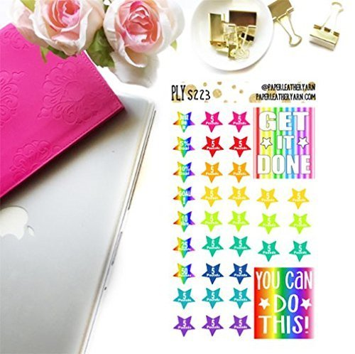 S223 - Weight Loss Goal Stars - Brights (35 Stickers) | Erin Condren | Inkwell Press | Happy Planner