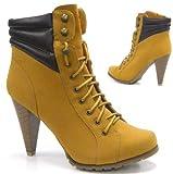 Elegante Stiefel Kunst Fell Stiefelette Damen High Heel camel 37