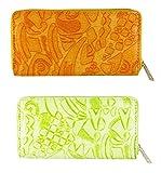 FAE Women's Wallet multi colour set of 2 by JDK NOVELTY - (Set2BGW3857OrangeGreen)