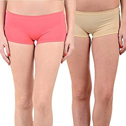 Mynte Women's Sports Shorts (MEWIWCMBP-SHR-102-96, Pink, Beige, Free Size, Pack of 2)