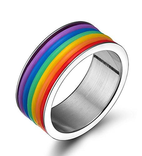 LianDuo Acciaio inossidabile Gomma Wrap Arcobaleno Orgoglio Gay Lesbian LGBT matrimonio fidanzamento anello della fascia,Larghezza 9 millimetri