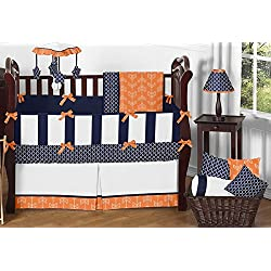 Sweet Jojo Designs Modern Bright Orange and Navy Arrow Print Hexagon 9 Piece Crib Baby Bedding Set with bumper