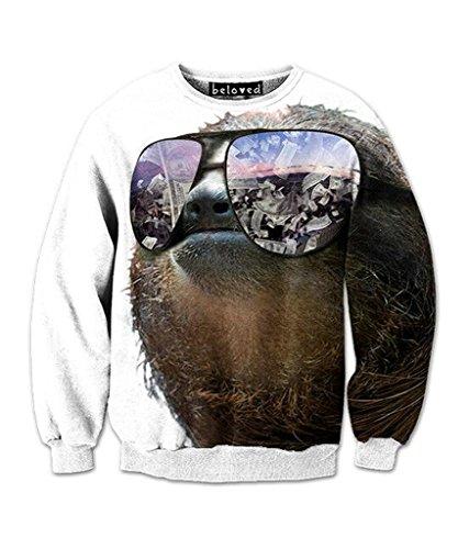 Beloved Shirts Swag Sloth Sweatshirt – Premium All Over Print Graphics – Medium