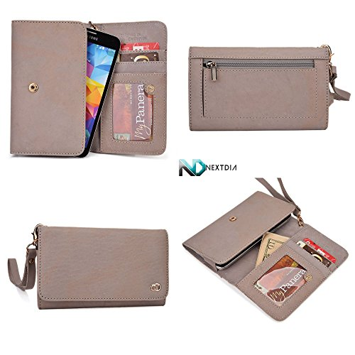Smartphone Genuine Leather Wallet Wristlet For Samsung G3812B Galaxy S3 Slim| Dim Grey With Credit Card Slots And Zippered Pouch For Coins + Detachable Wristlet front-1060851