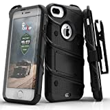 iPhone 7 Plus Case, Zizo Bolt Cover with [.33mm 9H Tempered Glass Screen Protector] Heavy Duty Armor [Military Grade] Kickstand Holster Belt Clip