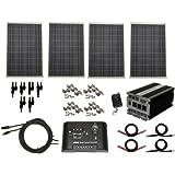 Complete 400 Watt Solar Panel Kit with 1500 Watt VertaMax Power Inverter for RV, Boat, Off-Grid 12 Volt Battery Systems