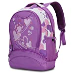 Hynes Eagle Girl's Lightweight Polyester Sweetheart Patterns Back to School Backpacks (Purple)