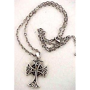 Celtic Cross Pewter Pendant & Necklace Knotwork