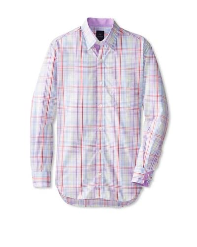 TailorByrd Men's Barbeau Long Sleeve Multi Checked Hidden Button Down Sportshirt