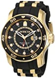 Invicta 6991 Men's Pro Diver Gold Tone GMT Black Polyurethane Rubber Strap Swiss Watch