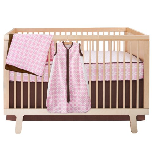 Skip Hop 4 Piece Bumper free Crib Bedding Set, Pink Lattice (Discontinued by Manufacturer)
