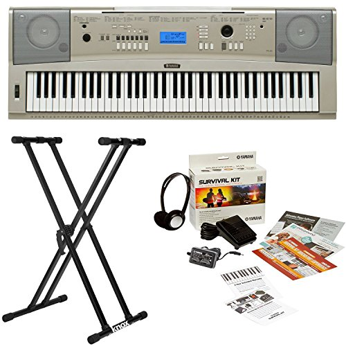 Yamaha YPG-235 76-Key Portable Grand Piano Keyboard Bundle with Knox Double X Stand and Yamaha Survival Kit (Includes Power Supply and 2 Year Extended Warranty) (Ypg 235 Stand compare prices)