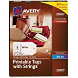 Avery Printable Tags with Strings for Inkjet Printers, 2 x 3.5-Inches, Pack of 96 Tags (22802)