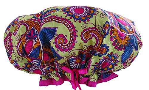Mademoiselle Designer Shower Cap with Drawsting Pouch, Play Time