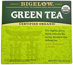 Bigelow Organic Green Tea, 40-Count Boxes (Pack of 6)