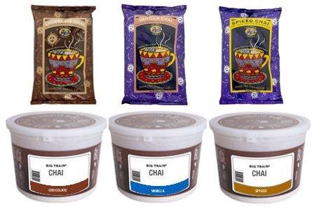 Big Train Chai Mix Variety Pack, Chocolate Chai Mix, Spiced Chai Mix, Vanilla Chai Mix - 3.5 Lb Bulk Bags