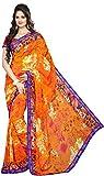 Mahamayamaya Women's Georgette Saree with Blouse Piece (Orange)