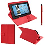 ZEETEK® **HIGH QUALITY 7 inch Red Leather Folding Stand case for Advent Vega Tegra Note 7 + Free Stylus! **