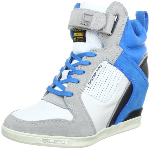 G-Star YARD Belle Wedge Lthr High Top Women White Weià (White Lthr & Suede w/Blue 31B) Size: 4 (37 EU)